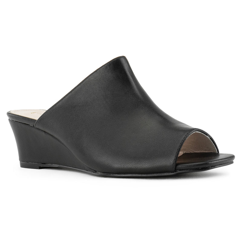 """Wide Width"" Slip On Low Platform Heel Mule Wedge Sandals BLACK PU"