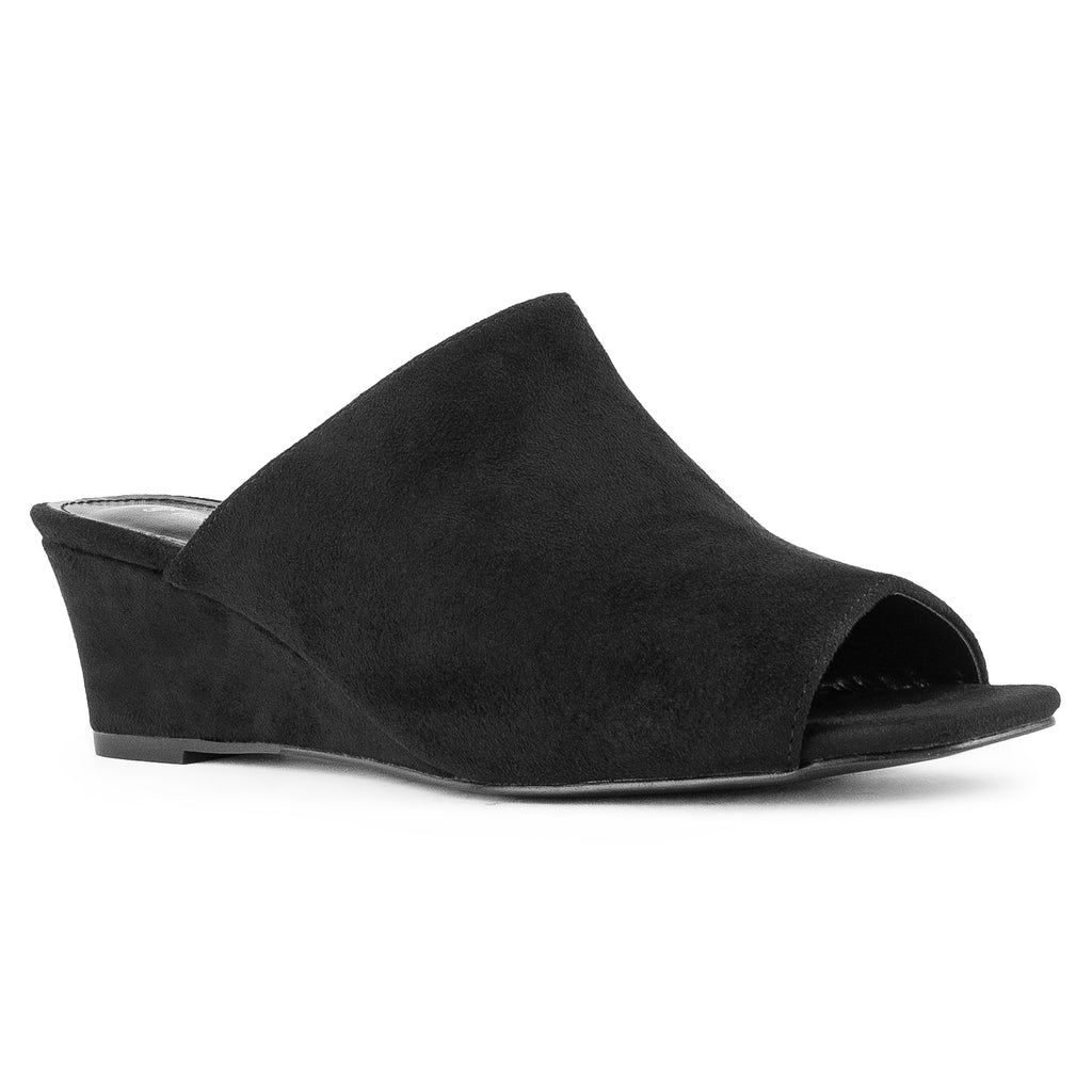"""Wide Width"" Slip On Low Platform Heel Mule Wedge Sandals BLACK SU"