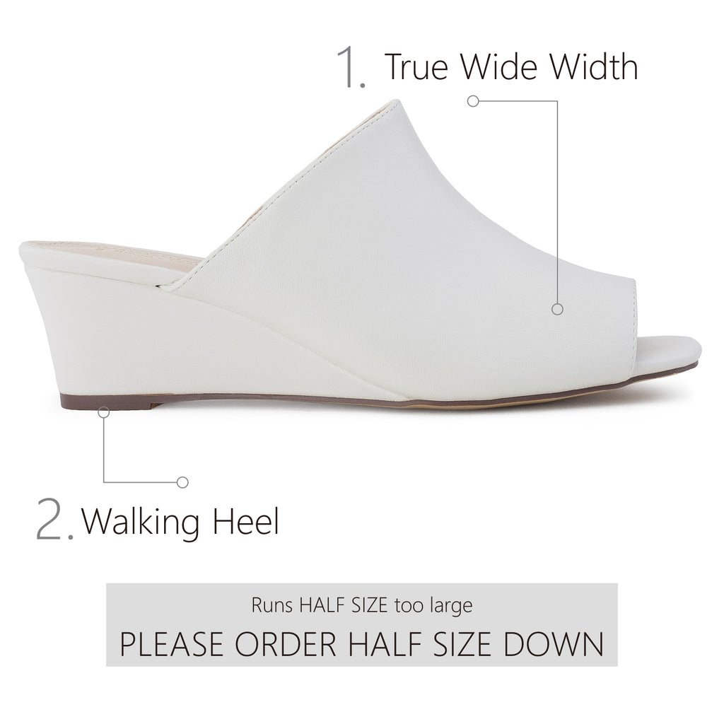 """Wide Width"" Slip On Low Platform Heel Mule Wedge Sandals WHITE"