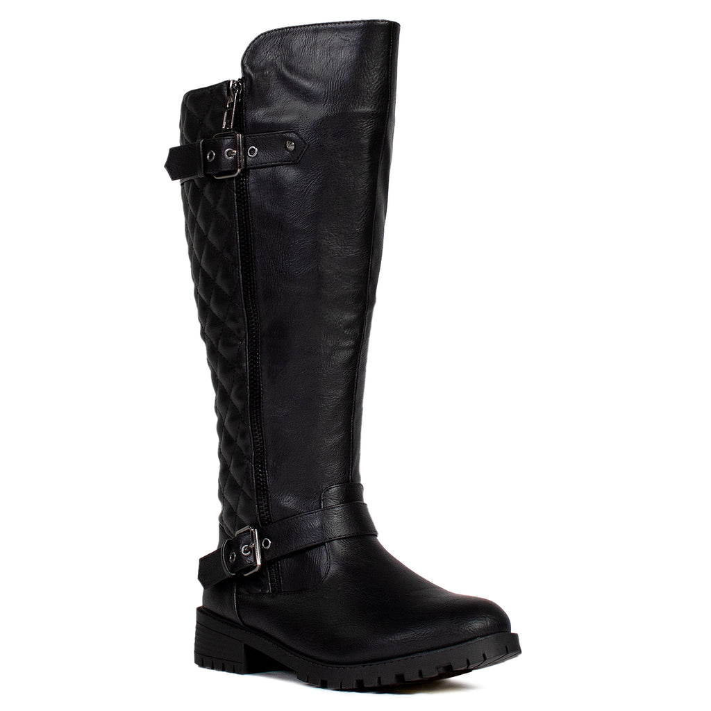 """Wide Calf"" Lug Sole Knee High Riding Boots BLACK"