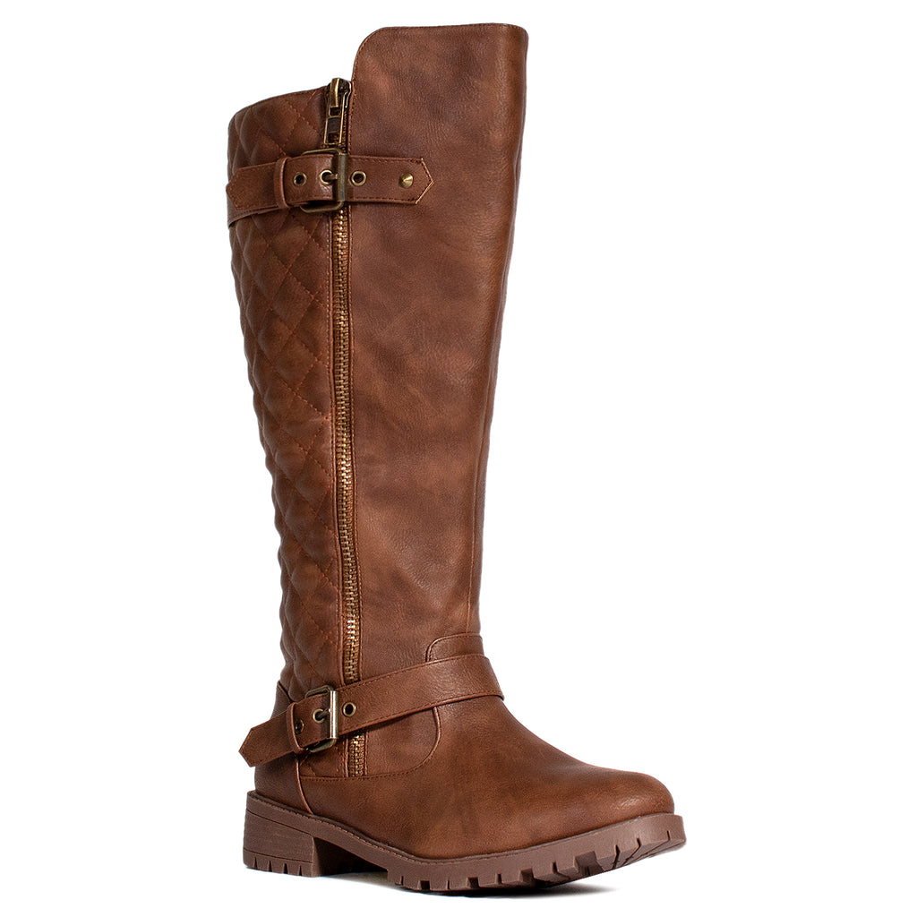 """Wide Calf"" Lug Sole Knee High Riding Boots BROWN"