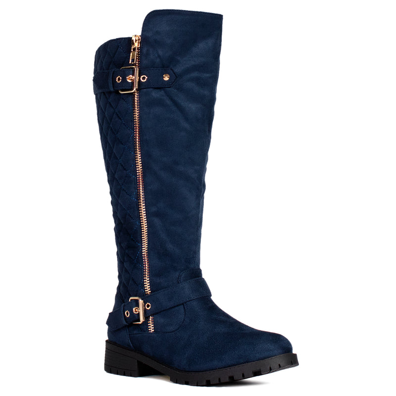 """Wide Calf"" Lug Sole Knee High Riding Boots NAVY"