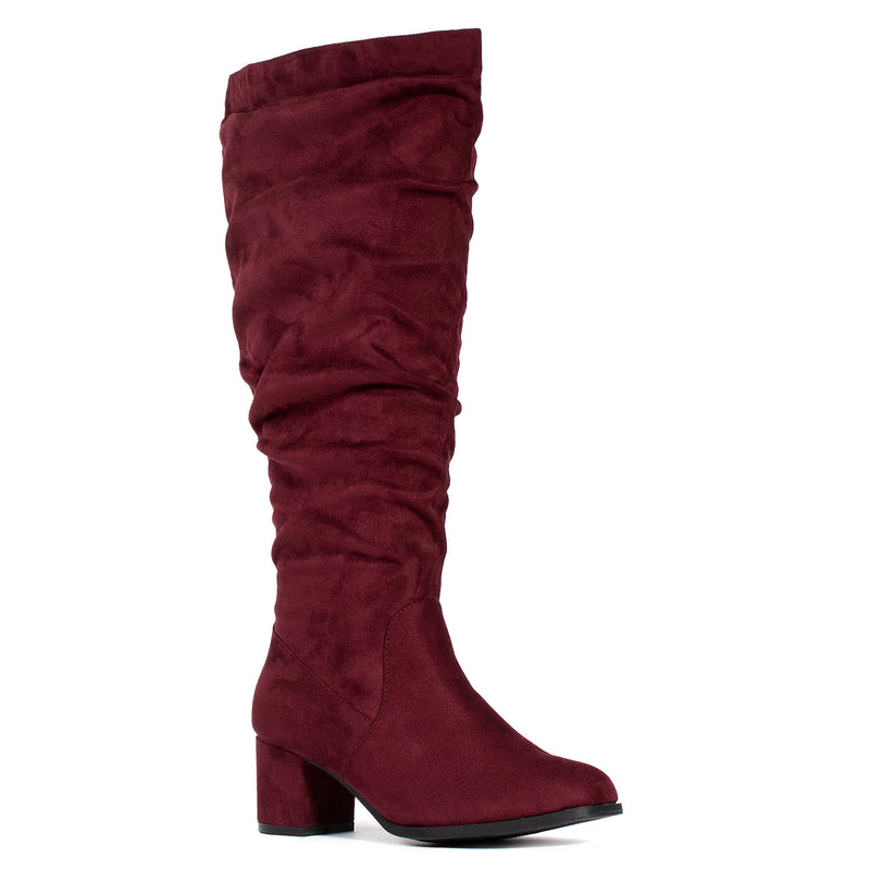 """Wide Calf & Wide Width"" Slouchy Knee High Boots BURGUNDY"