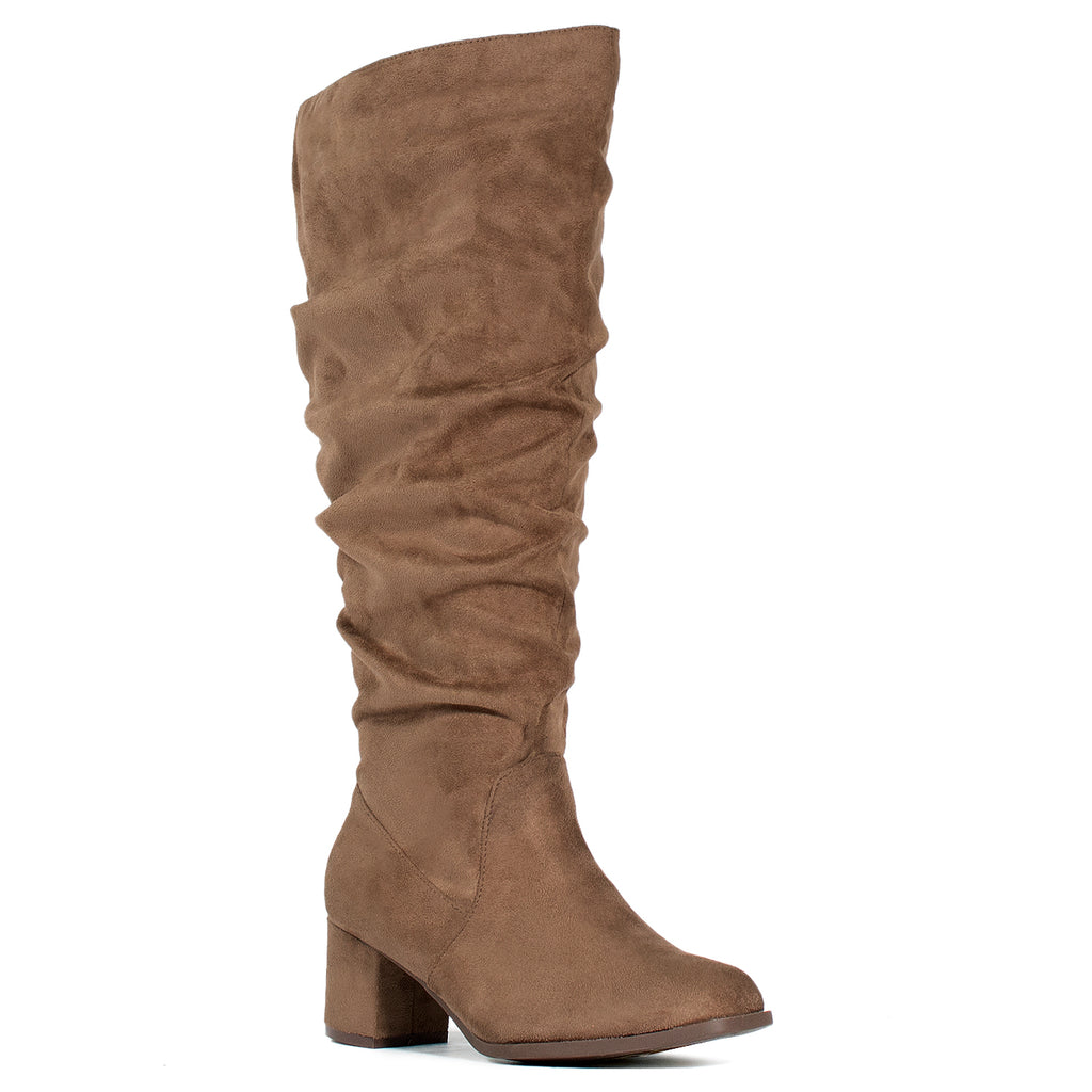 """Wide Calf & Wide Width"" Slouchy Knee High Boots TAUPE"