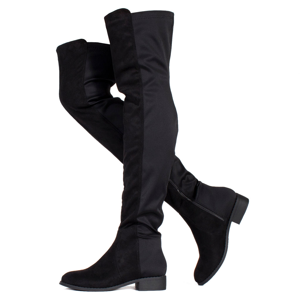 Fitted Stretchy Over The Knee High Riding Boots BLACK