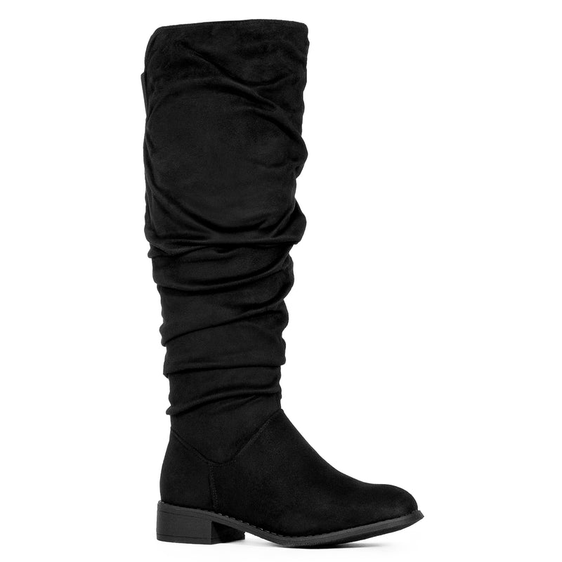 Medium Calf Slouchy Pull On Low Block Heel Knee High Boots BLACK