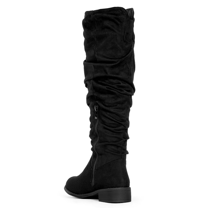 Slouchy Low Heel Knee High Boots (MEDIUM CALF) Black SU