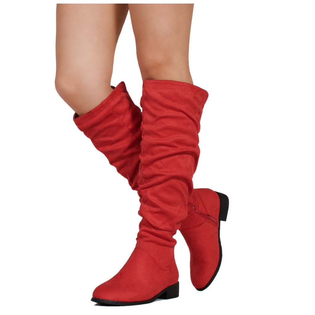Medium Calf Slouchy Pull On Low Block Heel Knee High Boots RED