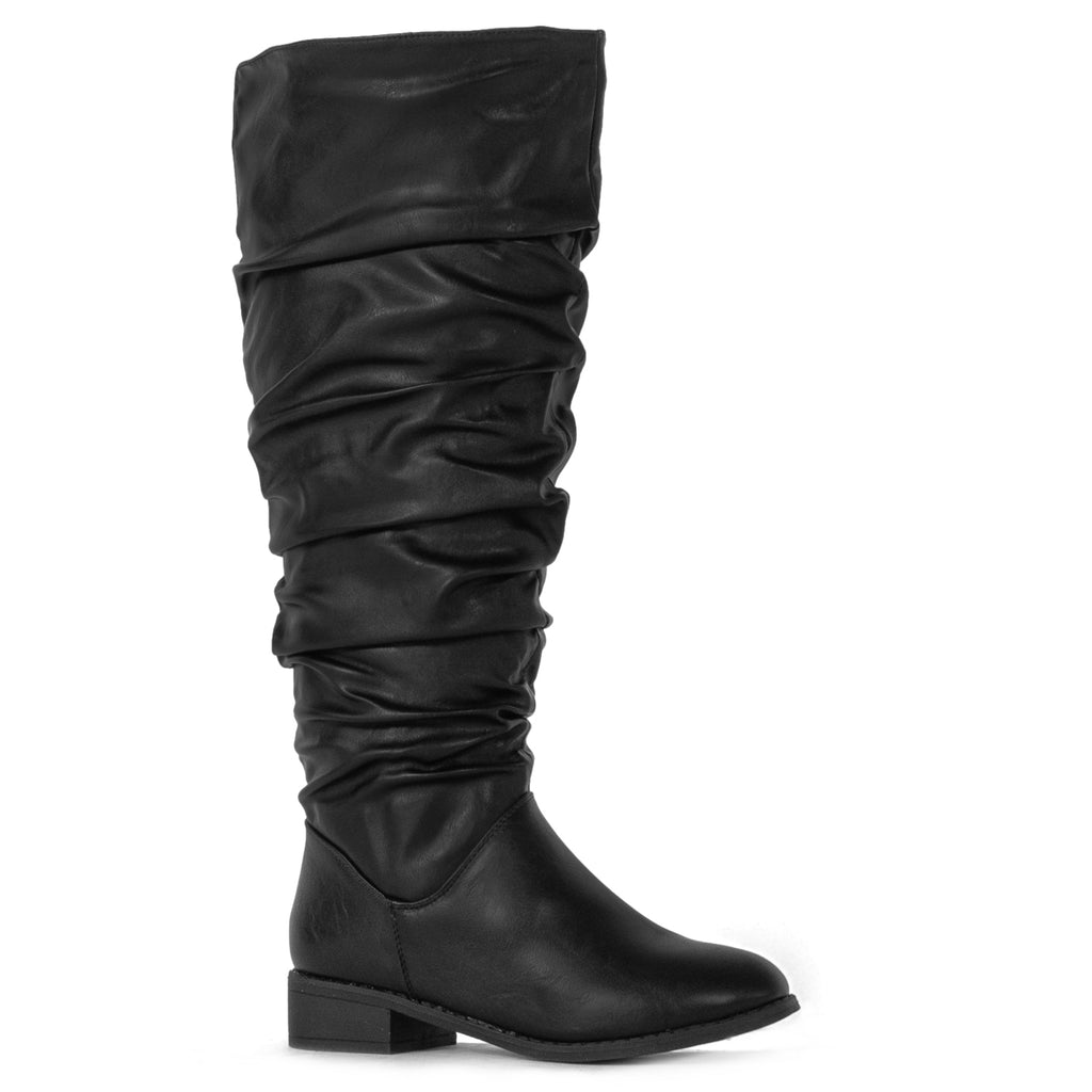 """Wide Calf"" Slouchy Pull On Low Block Heel Knee High Boots BLACK PU"