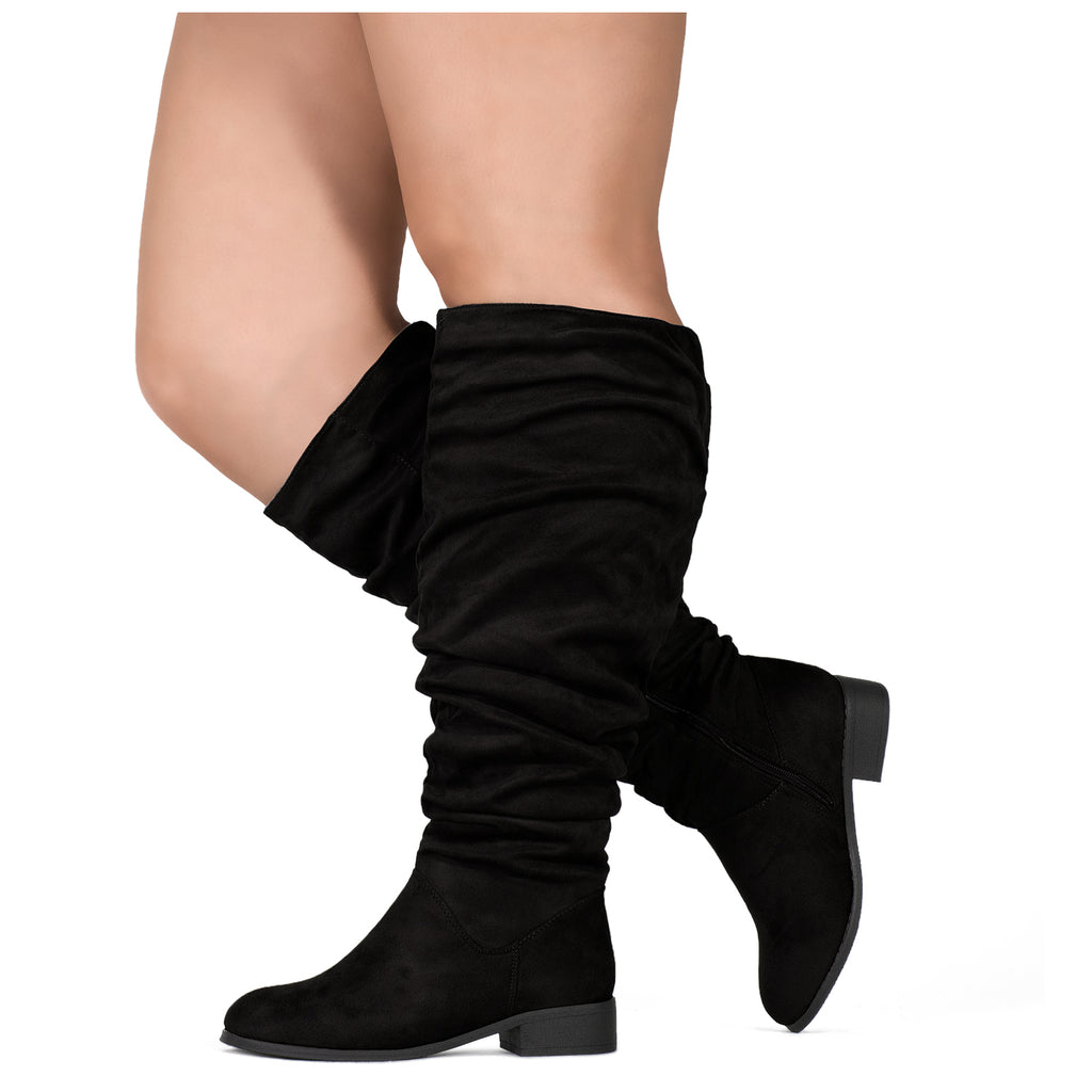 """Wide Calf"" Slouchy Pull On Low Block Heel Knee High Boots BLACK SU"
