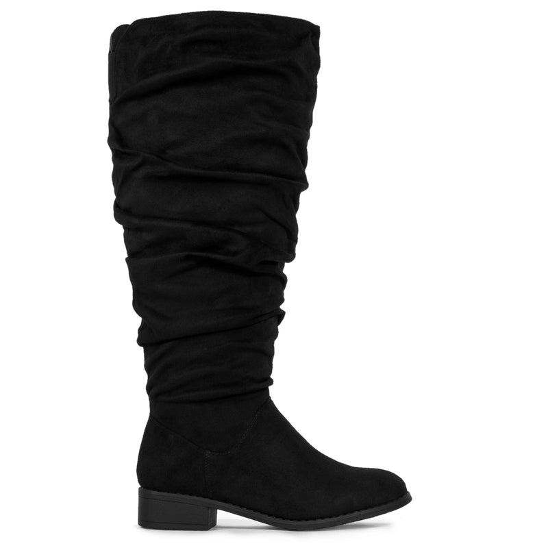 Slouchy Low Heel Knee High Boots (WIDE CALF) Black SU