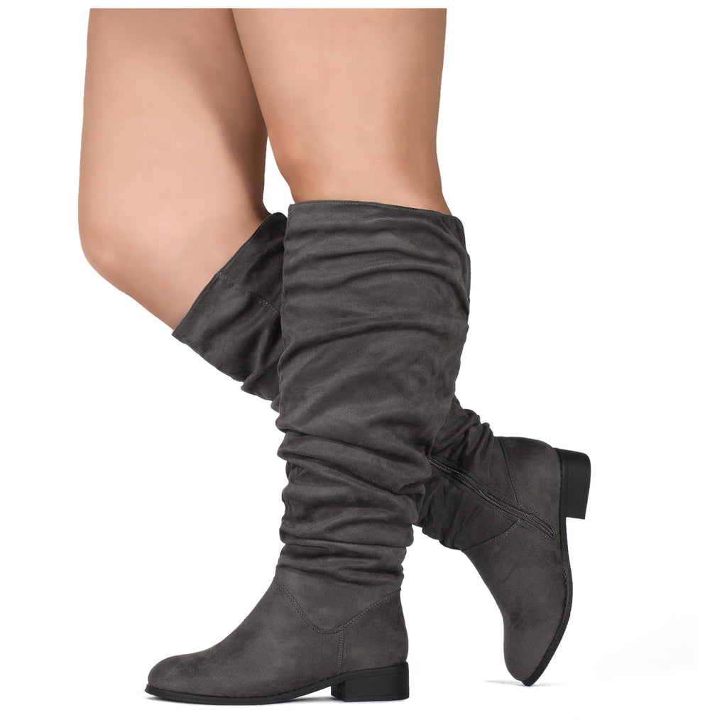 """Wide Calf"" Slouchy Pull On Low Block Heel Knee High Boots GREY"