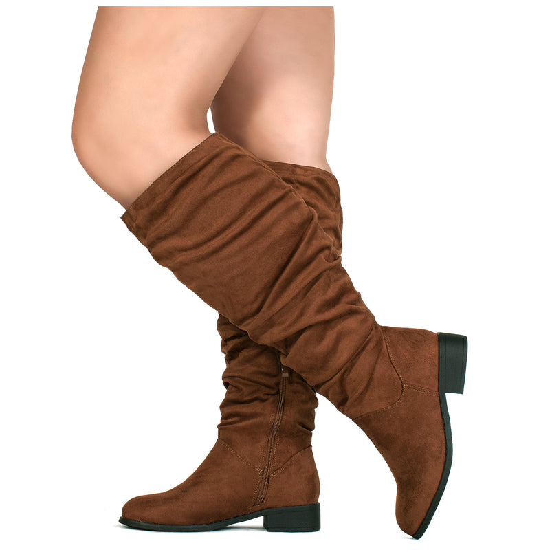 """Wide Calf"" Slouchy Pull On Low Block Heel Knee High Boots WALNUT"