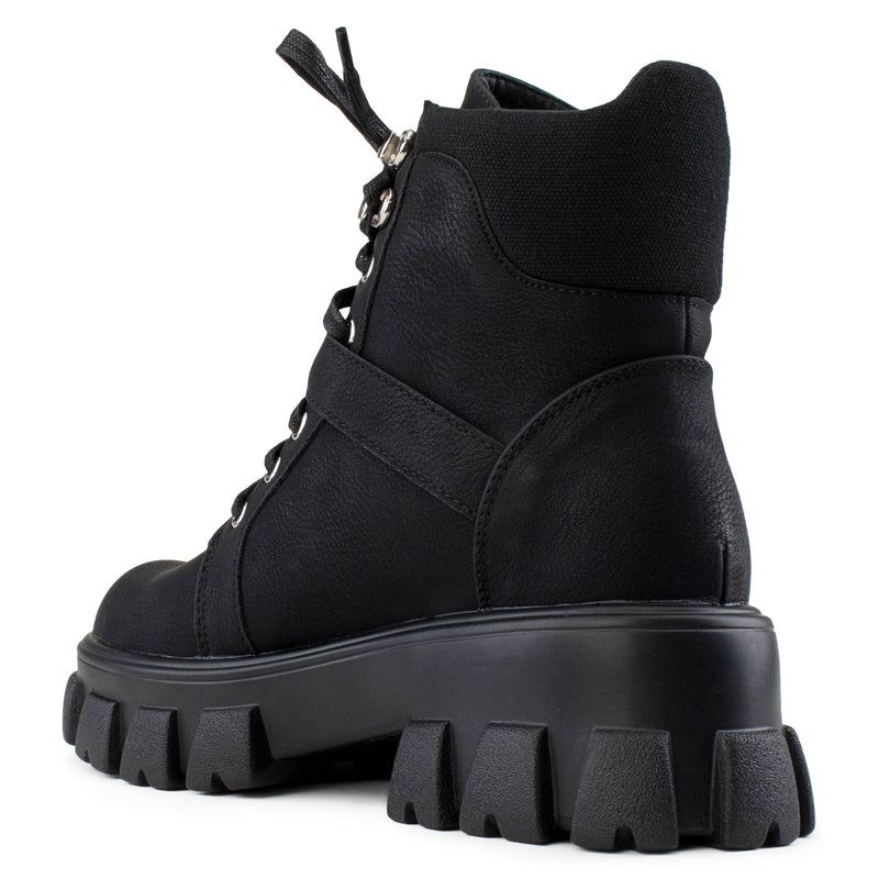 Women's Lug Sole Light Weight Lace Up Combat Ankle Boot Bootie BLACK
