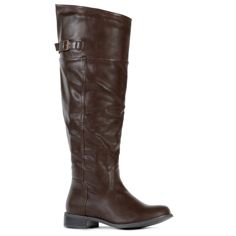 """Medium Calf"" Western Knee High Low Heel Riding Boots BROWN"