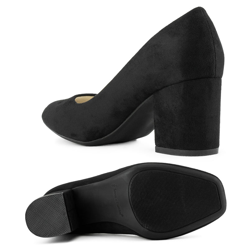 """Wide Width"" Classic Chunky Heel Dress Pumps BLACK SUEDE"