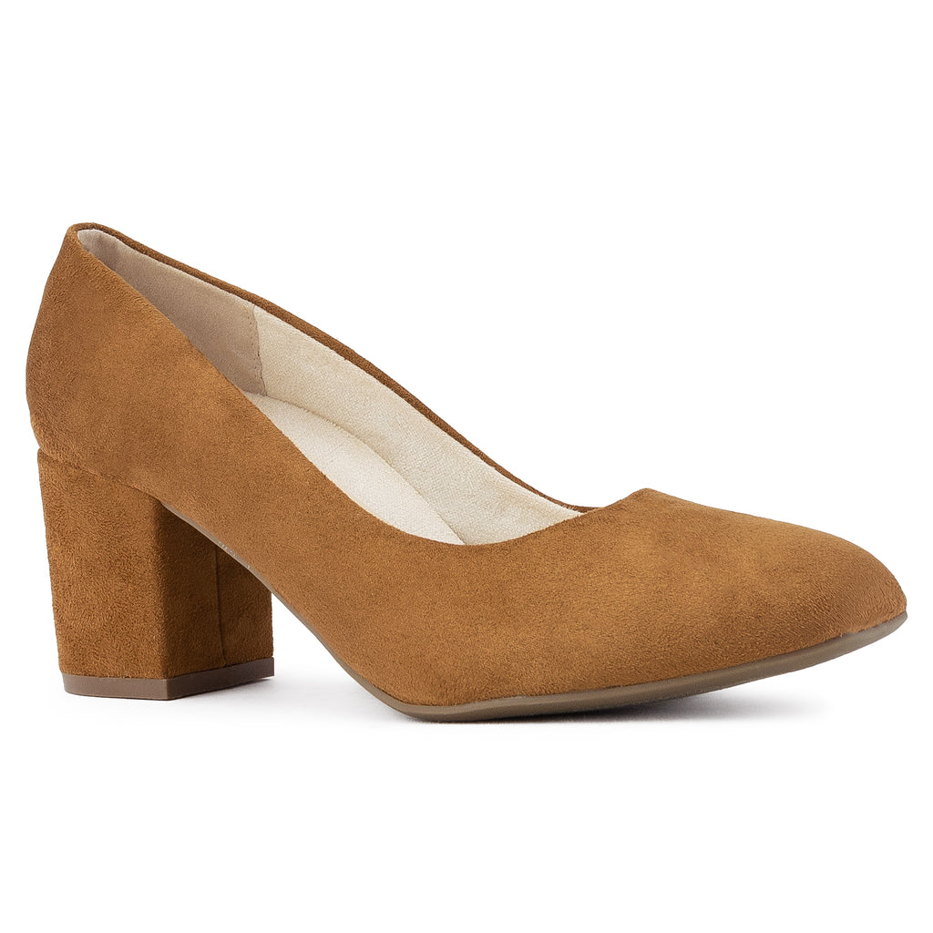 """Wide Width"" Classic Chunky Heel Dress Pumps CAMEL"