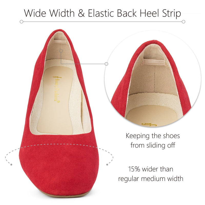 """Wide Width"" Classic Chunky Heel Dress Pumps RED"