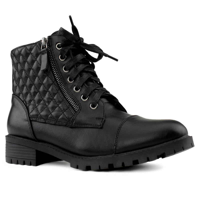 """Wide Width"" Lug Sole Ankle Combat Hiking Boots w Pocket BLACK"