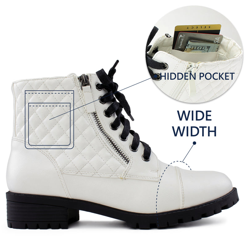 """Wide Width"" Lug Sole Ankle Combat Hiking Boots w Pocket WHITE"