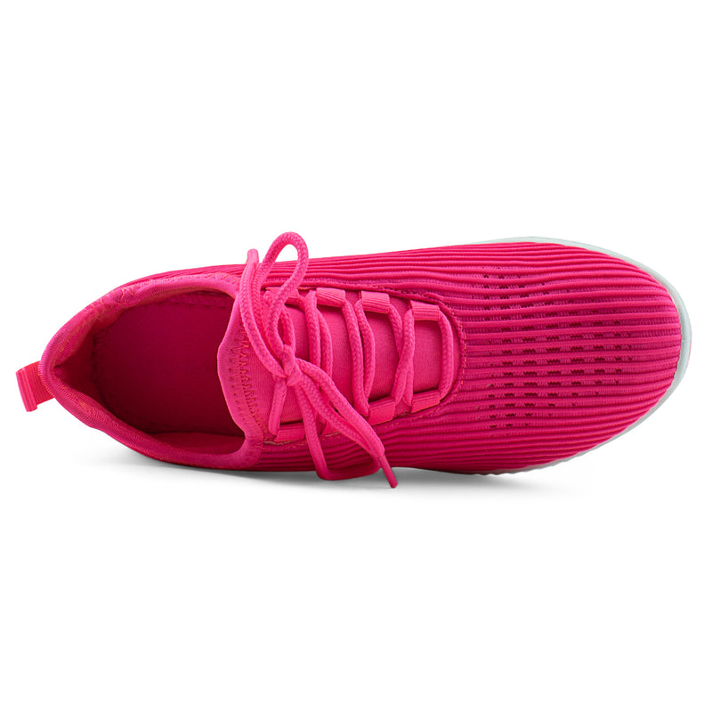 Women's Breatheable Lace Up Comfort Knit Walking Sneakers Shoes NEON FUCHSIA