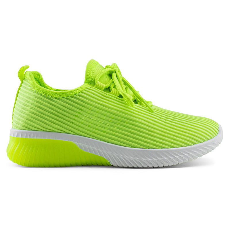 Women's Breatheable Lace Up Comfort Knit Walking Sneakers Shoes NEON YELLOW