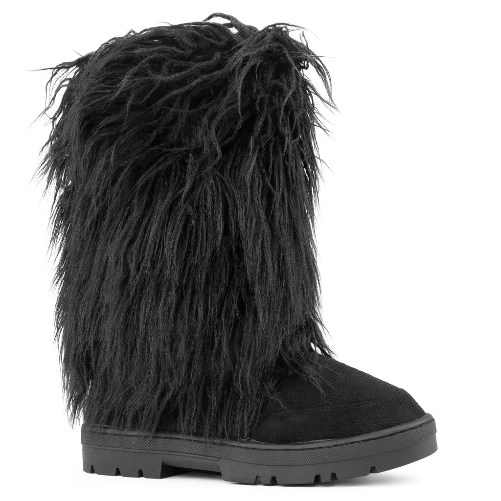 Long Fur Mid Calf Slip On Round Toe Lug Sole Eskimo Winter Boots BLACK