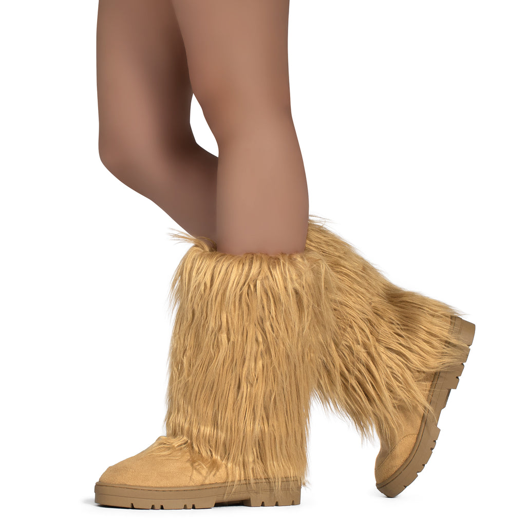 Long Fur Mid Calf Slip On Round Toe Lug Sole Eskimo Winter Boots CAMEL