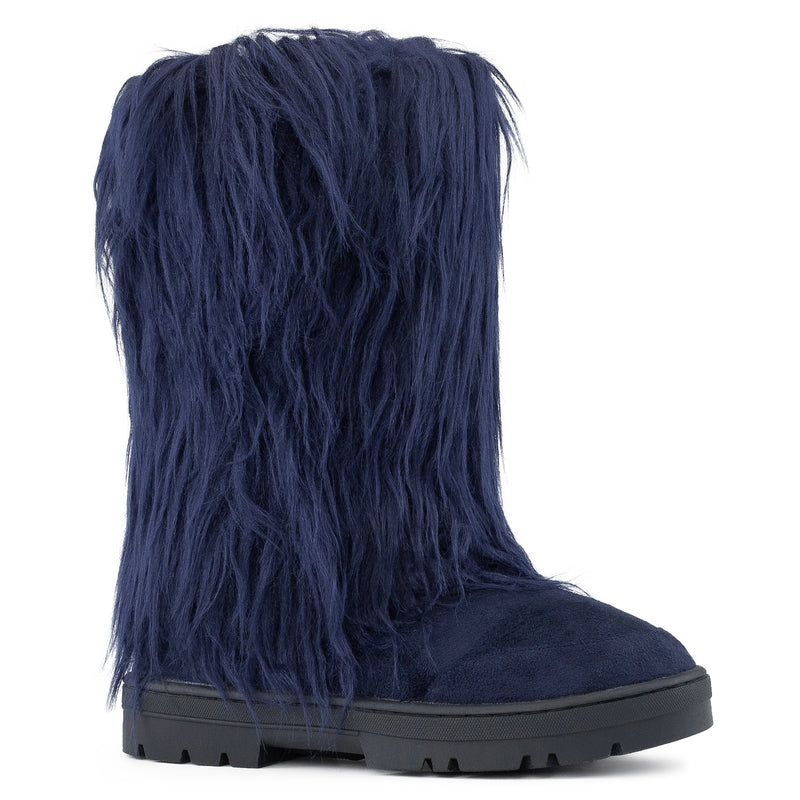 Long Fur Mid Calf Slip On Round Toe Lug Sole Eskimo Winter Boots NAVY