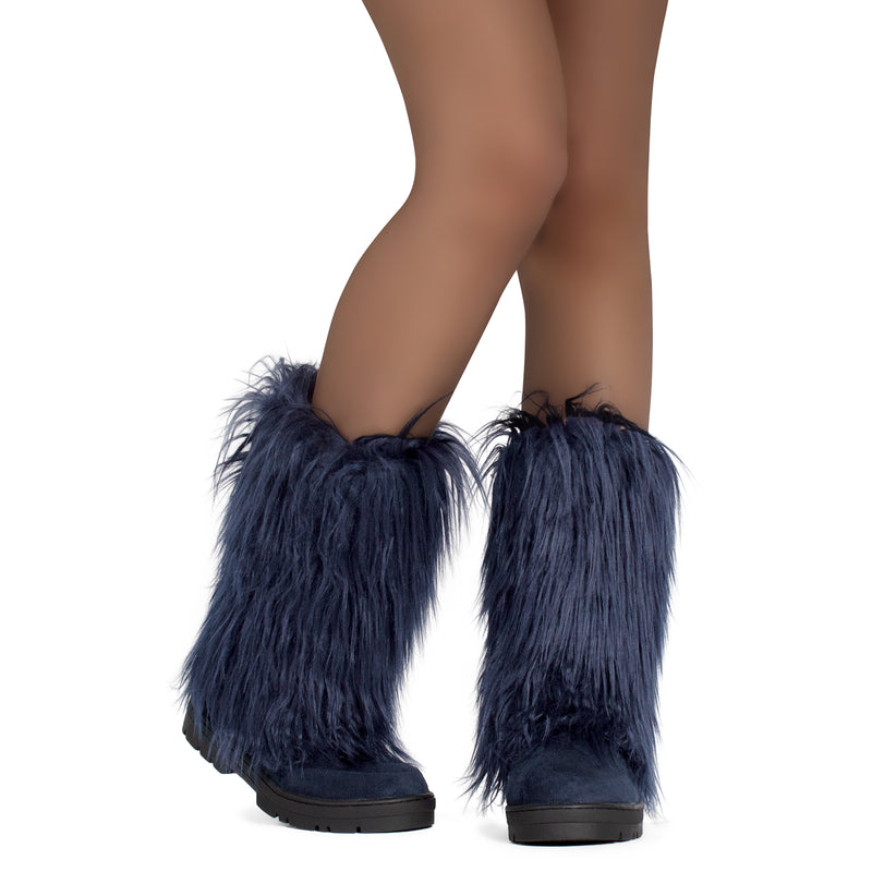 Faux Long Fur Slip On Round Toe Lug Sole Eskimo Winter Boots NAVY