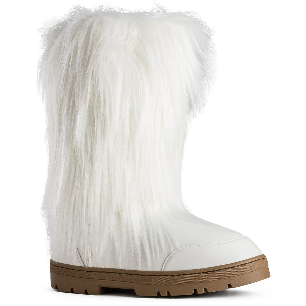 Vegan Faux Long Fur Mid Calf Lug Sole Winter Boots WHITE