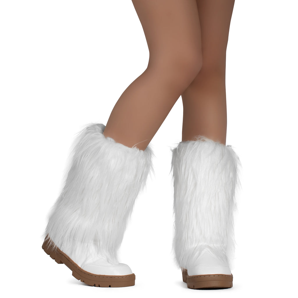 Long Fur Mid Calf Slip On Round Toe Lug Sole Eskimo Winter Boots WHITE