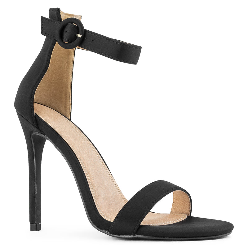 Open Toe Single Sole Stiletto Heel Dress Sandals BLACK
