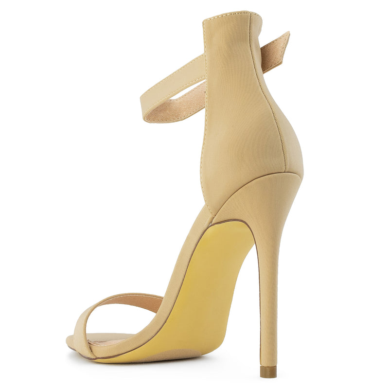 Open Toe Single Sole Stiletto Heel Dress Sandals NUDE