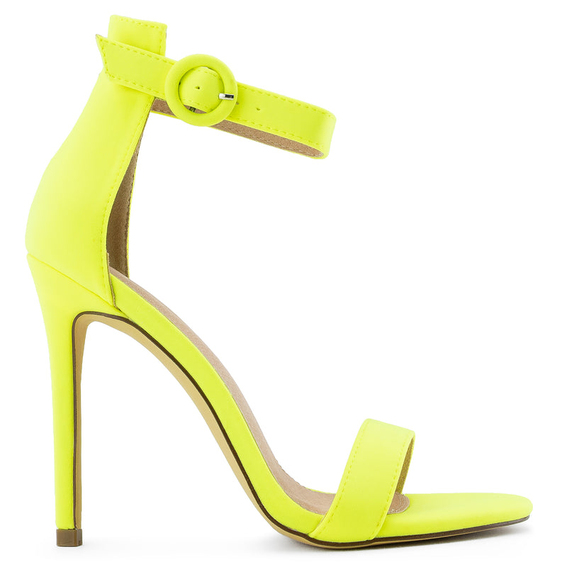 Open Toe Single Sole Stiletto Heel Dress Sandals YELLOW