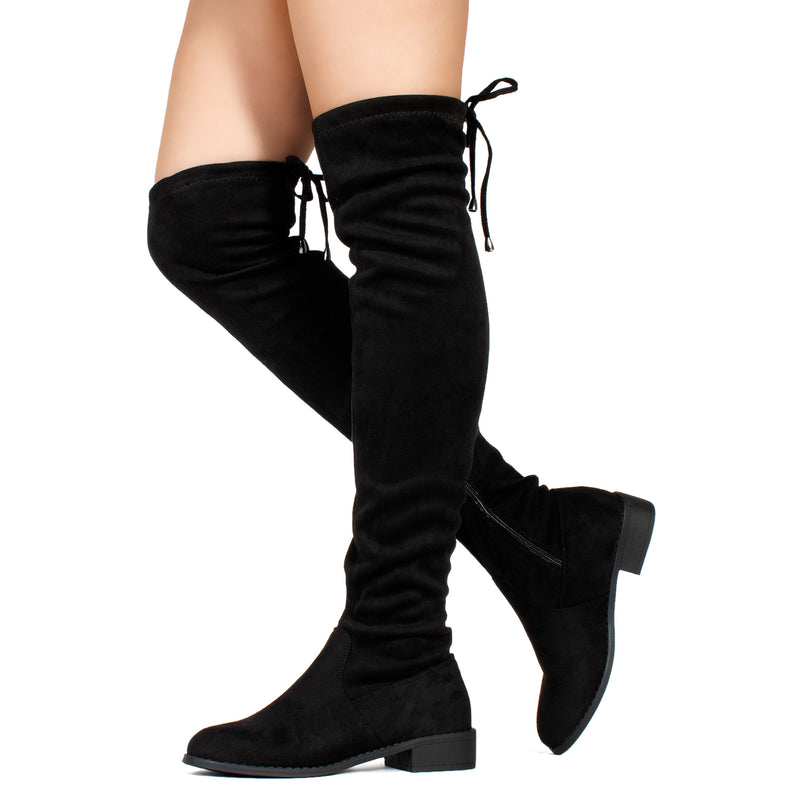 Medium Calf Stretchy Over The Knee Riding Boots BLACK