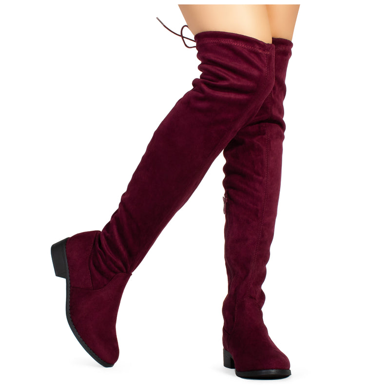Women's Stretchy Over The Knee Riding Boots BURGUNDY
