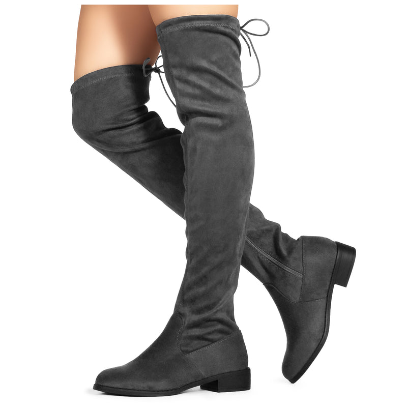 """Medium Calf"" Western Knee High Low Heel Riding Boots BLACK"