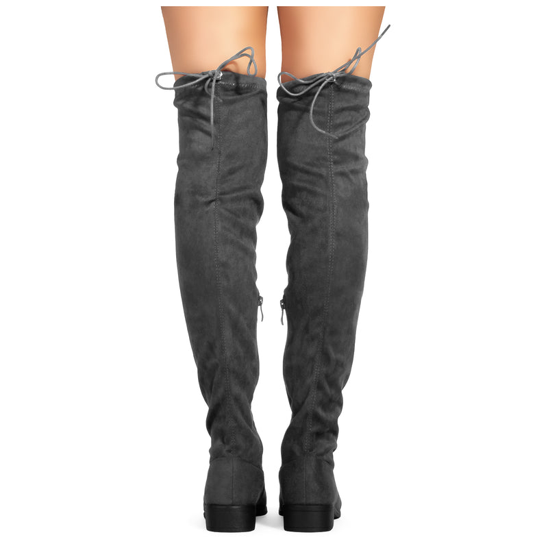 Women's Stretchy Over The Knee Riding Boots GREY