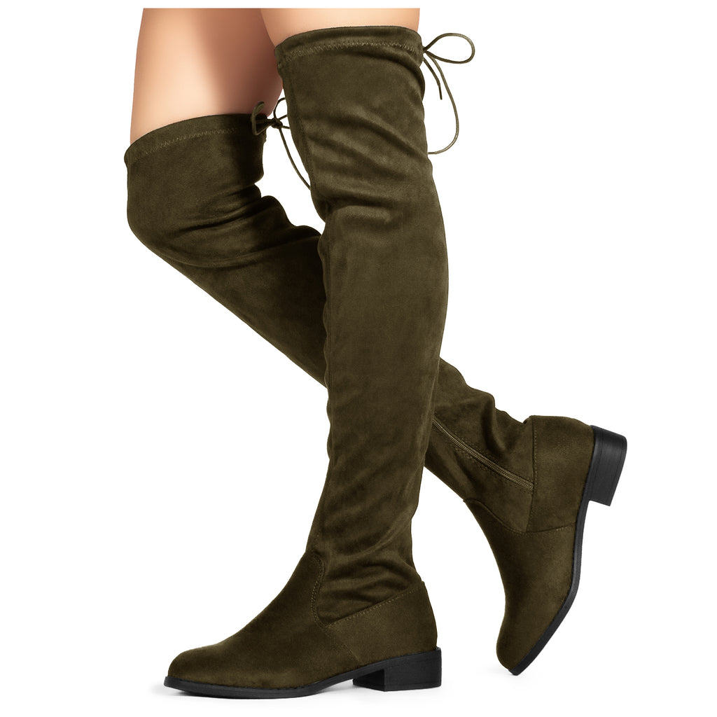 Women's Stretchy Over The Knee Riding Boots OLIVE