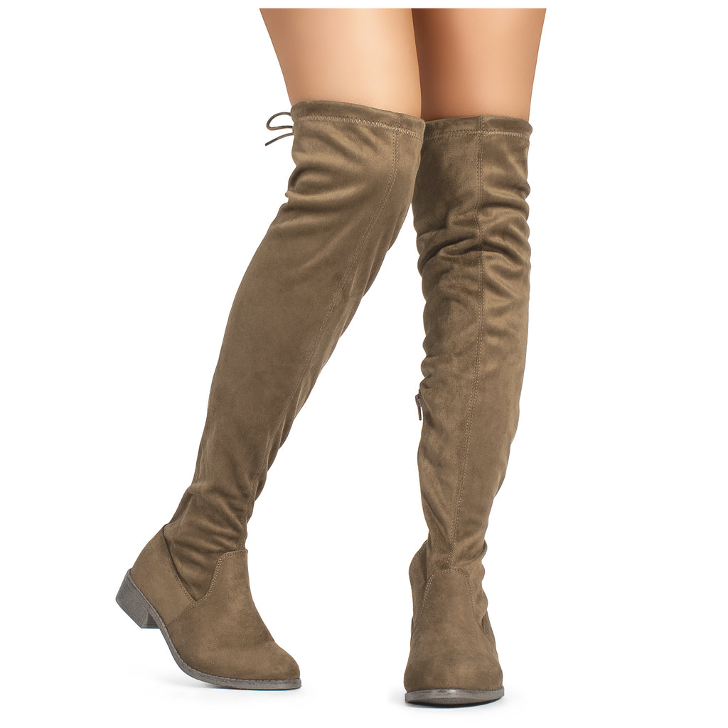 Women's Stretchy Over The Knee Riding Boots TAUPE