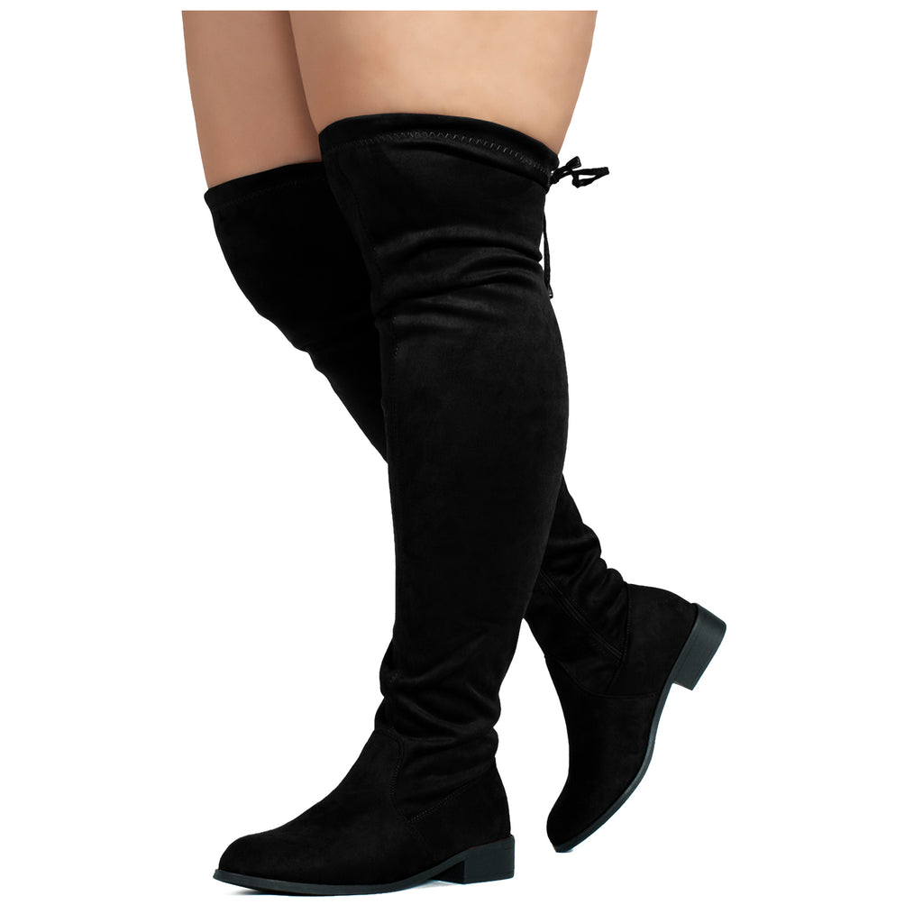 """Wide Calf"" Stretchy Over The Knee Riding Boots  BLACK"