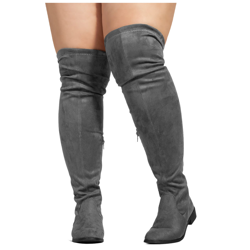 """Wide Calf"" Stretchy Over The Knee Riding Boots GREY"