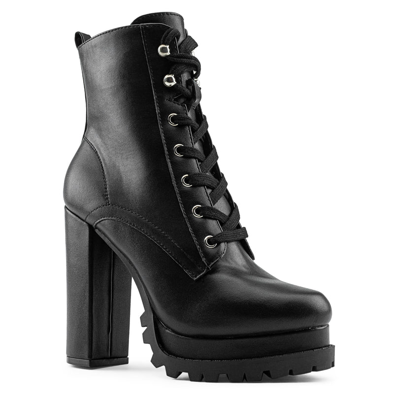 Women's Lace Up Combat Inspired Lug Sole Platform Chunky Heel Ankle Boots BLACK