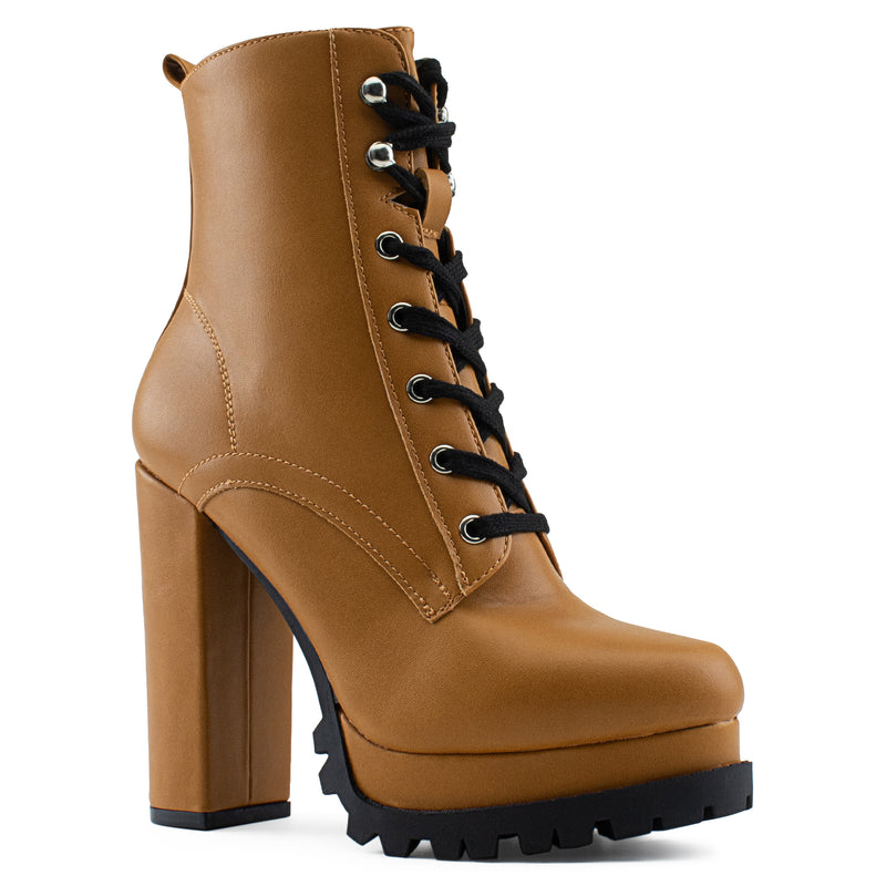 Women's Lace Up Combat Inspired Lug Sole Platform Chunky Heel Ankle Boots TAN