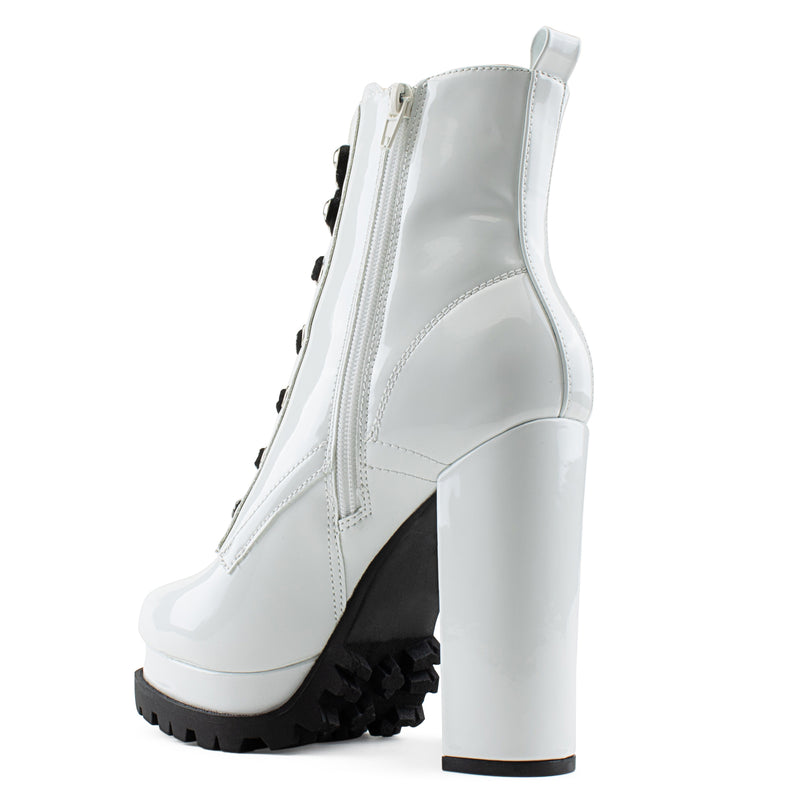 Women's Lace Up Combat Inspired Lug Sole Platform Chunky Heel Ankle Boots WHITE