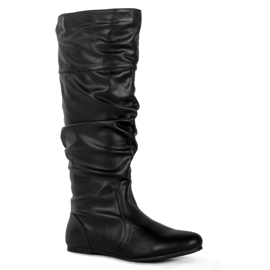 Casual Slouchy Pull On Knee High Boots Black PU