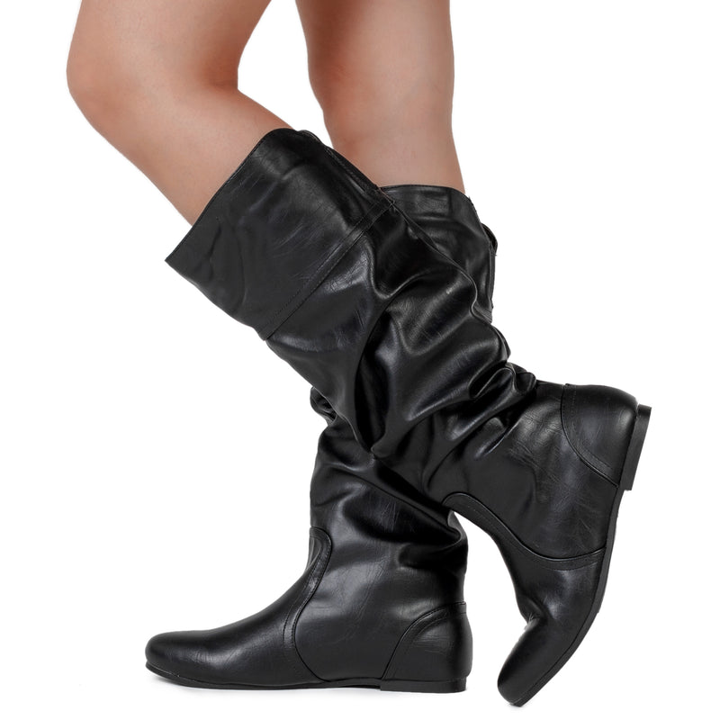 """Medium Calf"" Slouchy Knee High Boots BLACK PU"