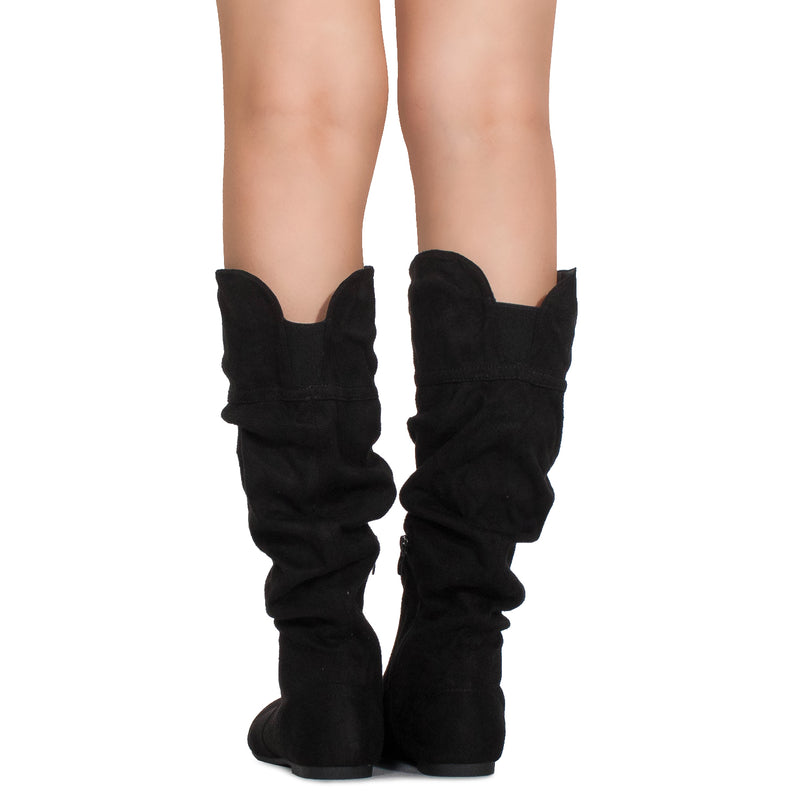 Casual Slouchy Pull On Knee High Boots Black SU