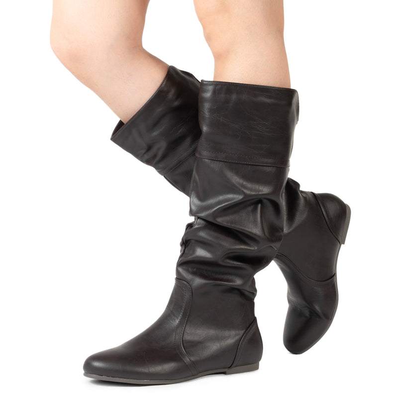 """Medium Calf"" Slouchy Knee High Boots BROWN PU"